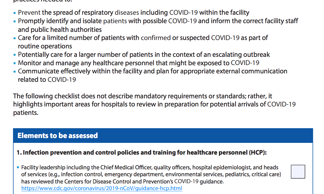 CONSTANT Recommends: CDC's COVID-19 Hospital Assessment Tool