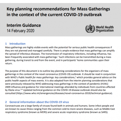 CONSTANT Recommends: WHO Considerations for Mass Gatherings During COVID-19 Outbreak